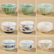 Qing porcelain kung fu teacum single cup ceramic small teacup single blue porcelain master cup a single small tasting cup