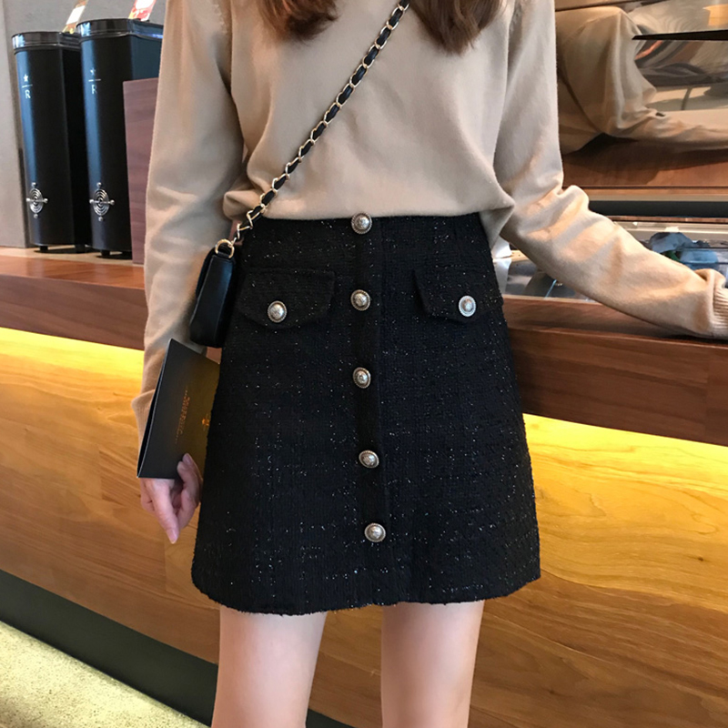 Tide brand 2020 autumn and winter big size black high-waisted skirt female fat mm ancient thick small incense a word bag hip skirt