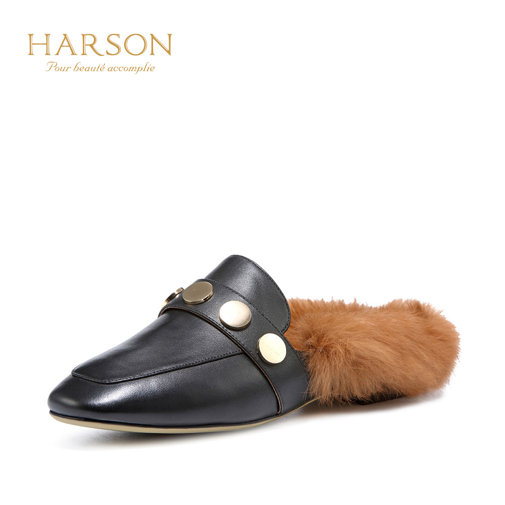 Hasen 2018 summer new cattle leather sets of feet women's shoes casual fashion plush wear slippers women HM86411