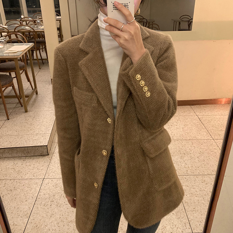 South Korea 2020 autumn winter 40% wool small suit jacket femininity ancient fern plus cotton brown suit