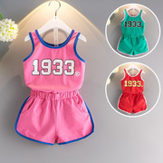 Suit for Girls Summer children children's wear small baby boy suit vest vest shorts two piece set