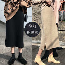 Pregnant women skirt autumn and winter middle tide mother spring and autumn outside wearing knitted a-word fashion autumn autumn dress belly skirt.