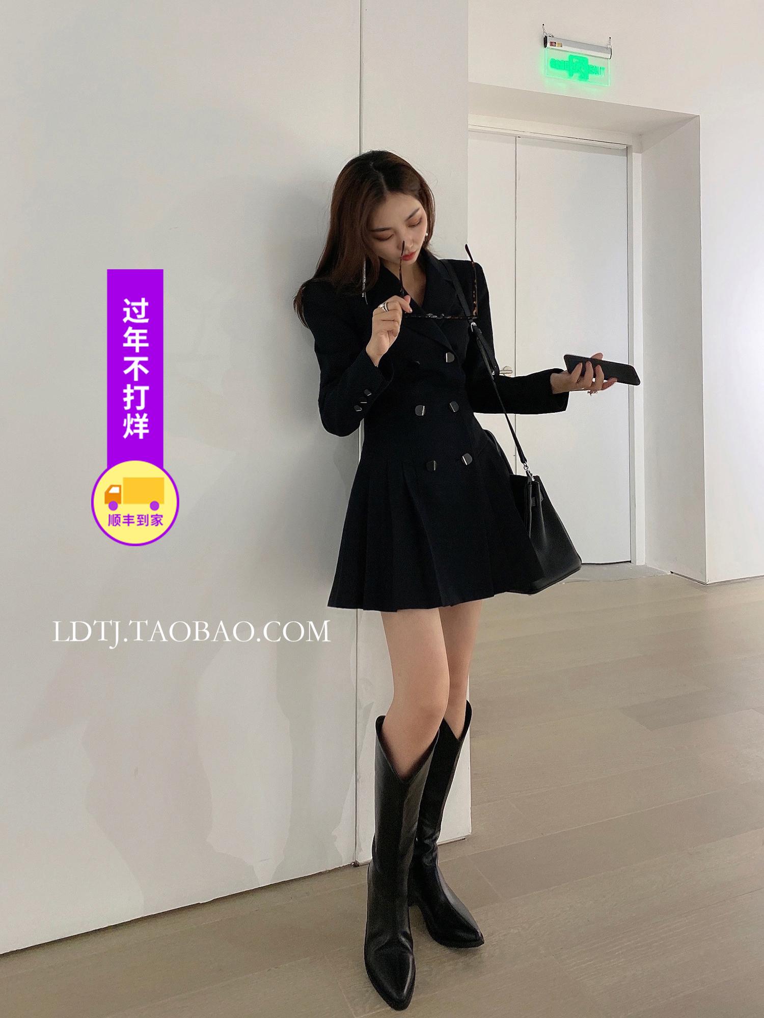 LDTJ Xu Ruichi Gao Wenying show thin pleated suit skirt 2021 spring new black waist dress short girl