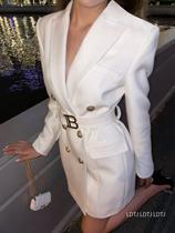 LDTJ high-set suit dress women B letter 2021 autumn and winter new metal double-breasted temperament waist suit jacket