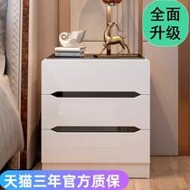 Стеклянная прикроватная тумбочка простой современный белый лакокрасочный маленький шкаф для спальни прикроватный шкаф для хранения