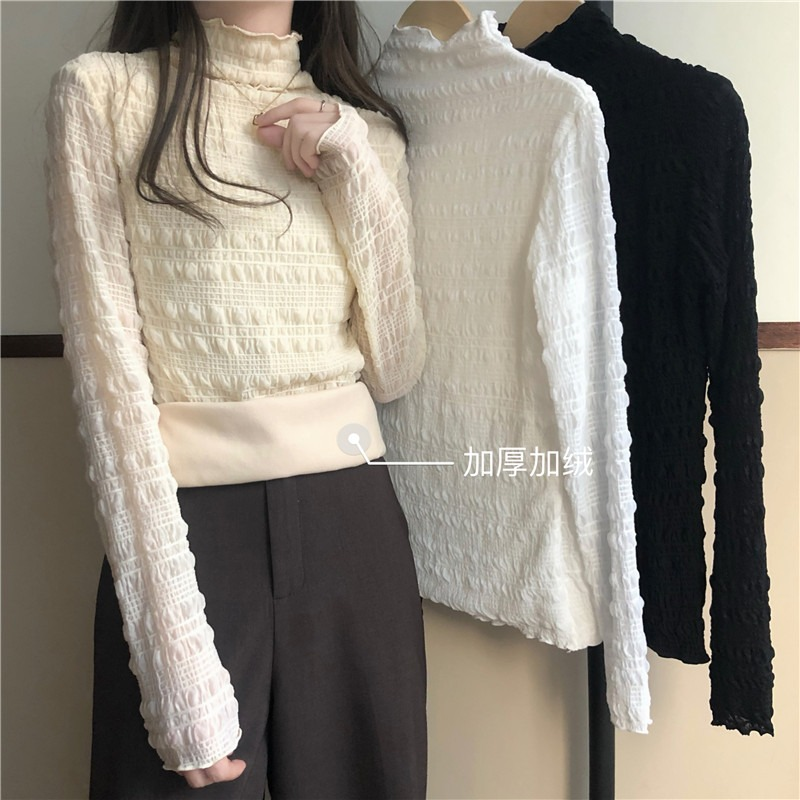 High-necked white lace shirt womens autumn winter 2020 new foreign pie plush thick inside with a black leggings top