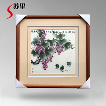 Suri embroidery pure hand-made Su embroidery finished products hanging grape chicken autumn fun picture living room entrance mural decoration