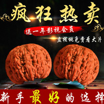 Wen play Walnut lion head four floor cap wild green skin shaped three four Edge Boutique collection to play boring sharp