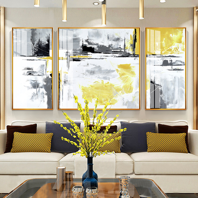 Abstract Art Decorative Painting Modern Simple Living Room Sofa Background Wall Hanging Painting Triple Painting Fresco Light Luxury Crystal Porcelain Painting