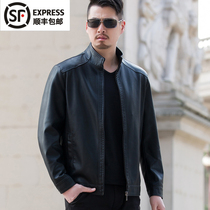Autumn casual aged mens dad lapel leather jacket