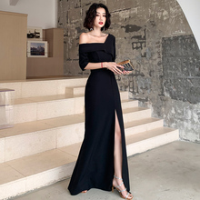Black Evening Dress Skirt Women New Banquet 2009 Noble Temperament Famous Long Style Queen's Dress Slender
