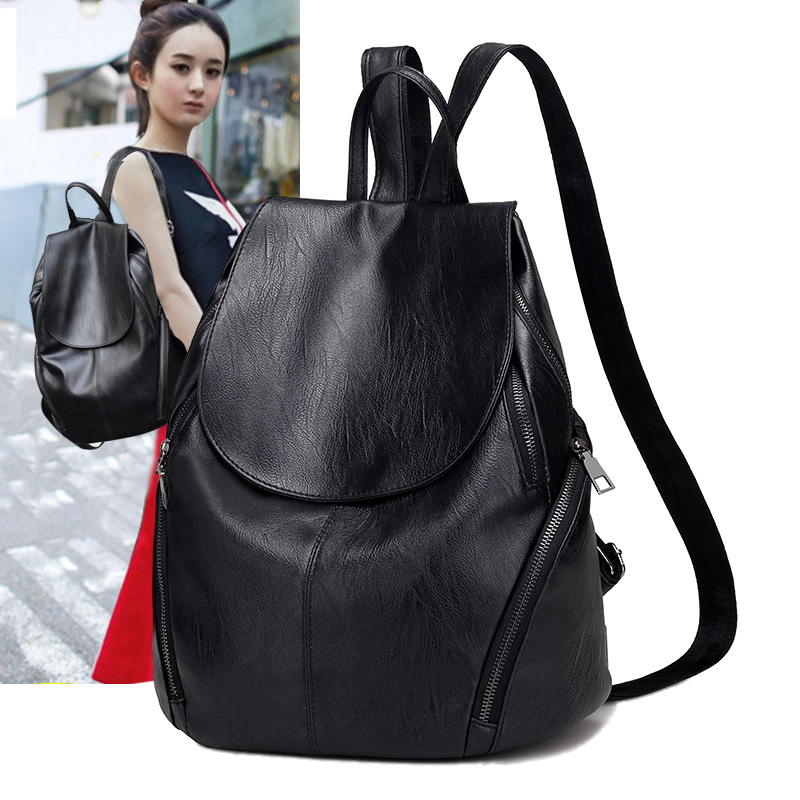 WFF backpack female 2018 new leather fashion wild bag large capacity casual soft leather backpack tide handbag