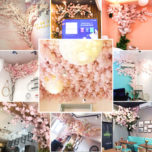 Imitation cherry tree wedding net red shop background wall setting indoor living room ceiling decoration plastic artificial flower cane