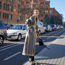 MAJE KARA plaid trench coat womens long model 2021 autumn new over the knee two sides wearing British style coat coat