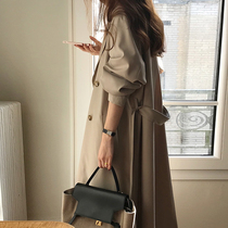2021 autumn and winter New loose Korean version of long windbreaker women double-breasted temperament simple a-shaped thin coat women