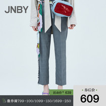 JNBY Jiangnan commoner 20 spring and summer discount new suit pants raw edge plaid straight pants women 5JB311060