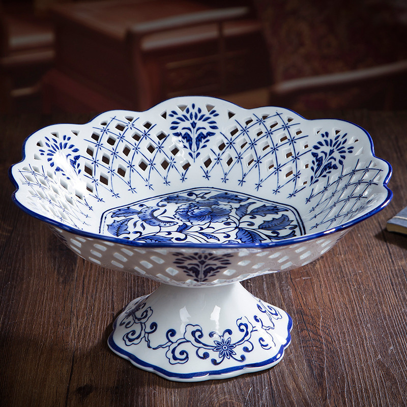 Jingdezhen Ceramic Unglazed Blue and White Porcelain Hollow Fruit Plate Creative Home Fruit Basket Food Plate