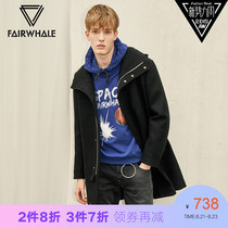 Mark waffle mall with autumn Hooded wool coat