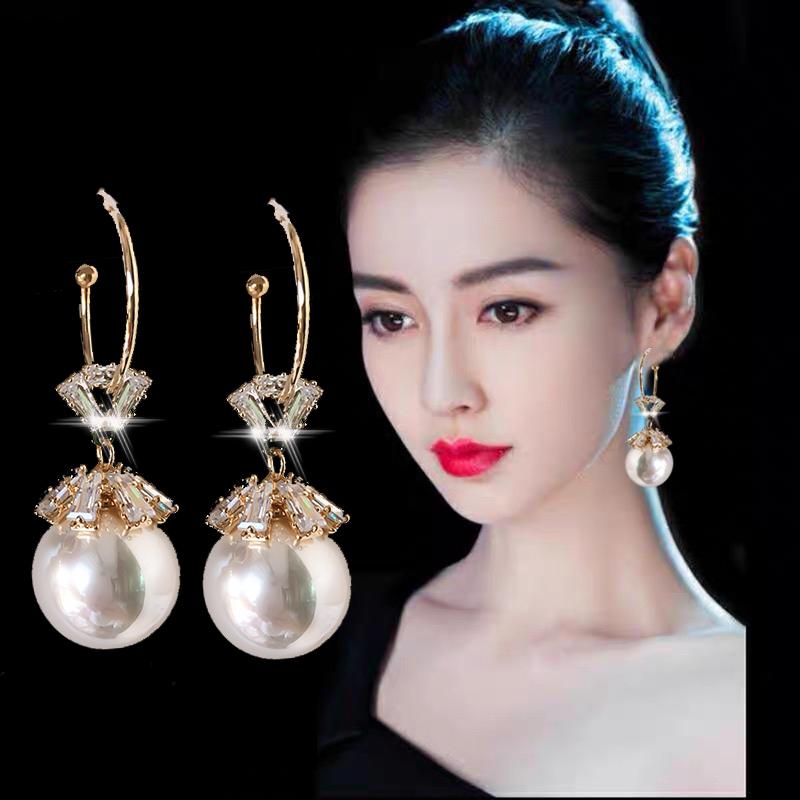 Ancient pearl earrings women 2020 new trendy pure silver stud anti-allergy earrings Korean temperament net red earrings