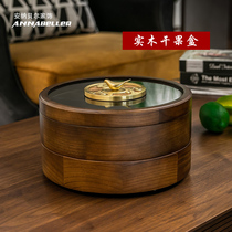 Solid wood double Fruit Box lattice with lid rotating Home Creative European Chinese dried fruit box living room New Year candy box