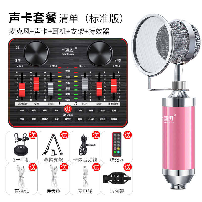 Ten lights G1 sound card singer special live broadcast set host equipment complete set of net red desktop computer general purpose Apple Android fast-hand microphone K God singer