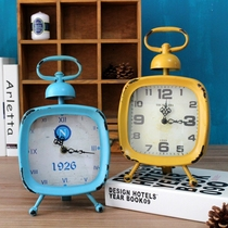 Export American-style country Mediterranean retro make old blue yellow iron clock home shop decoration clock