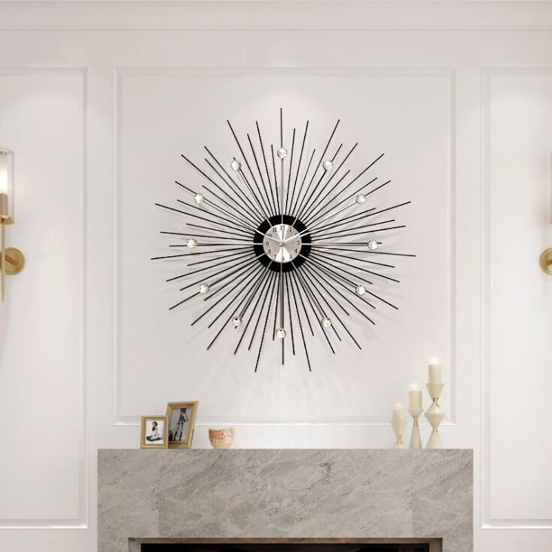 Nordic metal wall decoration solar wall clock living room dining room background wall model room hotel bell porch decorations