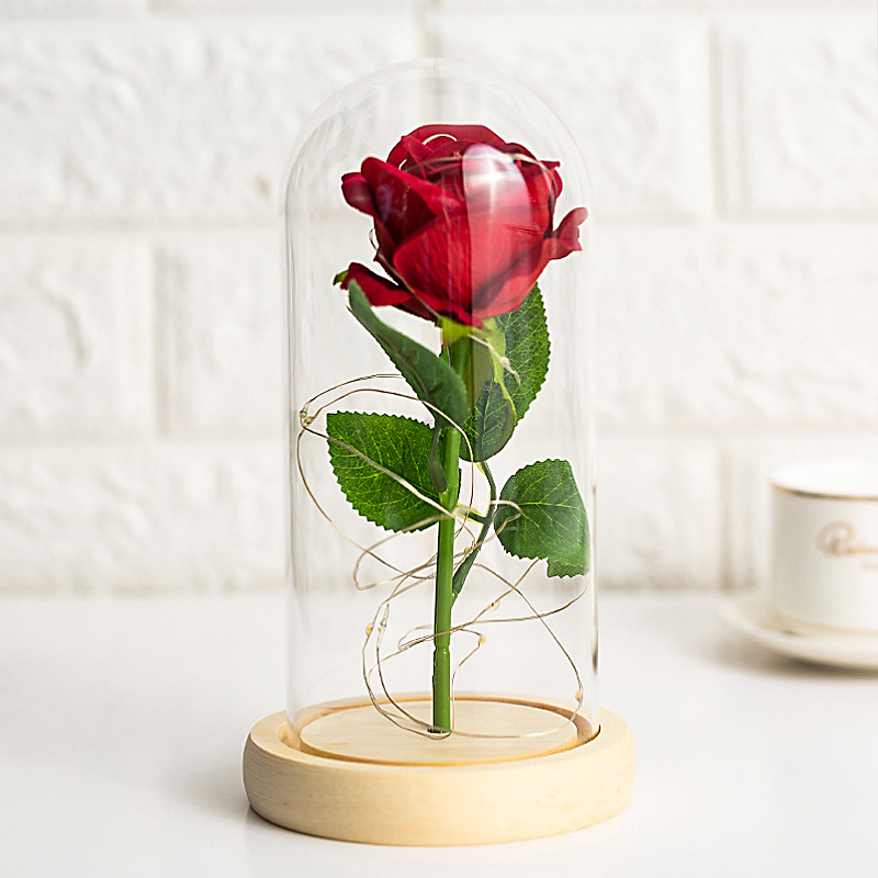 Immoral Flower Gift Valentines Day Creative Gift Glass Cover Roses Pose for Girlfriends Wife