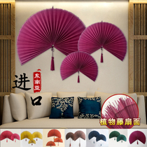 Imported large hanging fan wall hanging decorative fan pendant craft fan Chinese wind living room bedroom wall decoration folding fan decorations