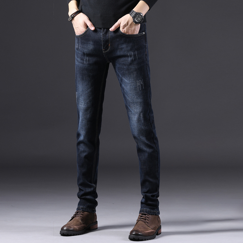 Spring new jeans mens trendy brand slimmed-down mens Korean version of a hundred plush plus thick casual long pants kz
