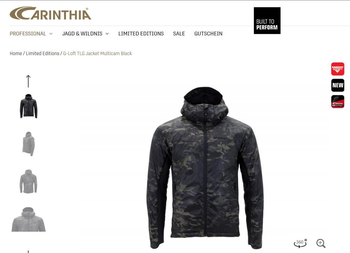 Carinthia Calencia TLG JACKET new jacket Weatherproof ultra-light ultra-thin thermal jacket