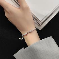 Korean bow bracelet Female sterling silver ins niche design full body 999 foot silver bracelet Summer simple high-end jewelry