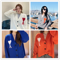 2021 autumn new ami Big Love loose wool v-neck long sleeve sweater cardigan mens and womens same model
