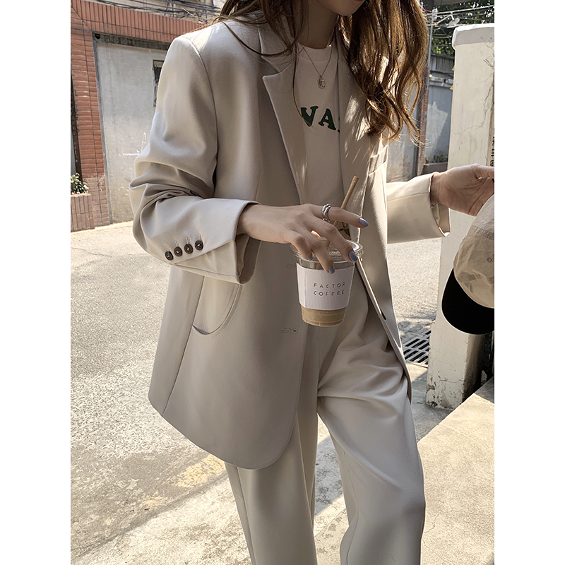 EKOOL custom loose casual blazer womens spring 2021 new Korean version of the wild show thin suit