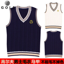 Spring and Autumn Golf mens sweater vest vest sleeveless Korean version mens Sweater v collar youth warm wool clothes