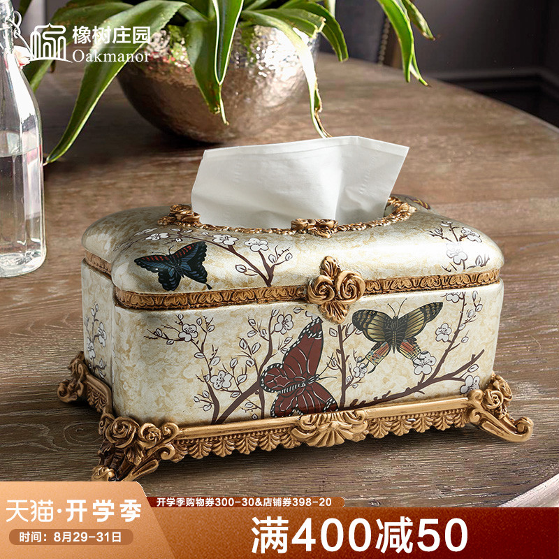 Ins American paper towel box decoration home luxury napkin carton creative living room tea table European light luxury carton