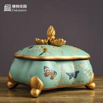 European Ceramic jewelry box decorative box decoration American Retro creative home bedroom dresser storage jewelry Box