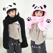 Korean Cute Panda Winter Hat Scarf Glove three piece suit for boys one female children warm thickening
