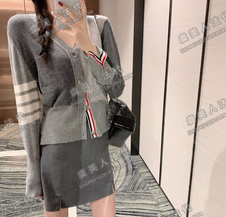 Thom Browne cardigan TB four-pole grey sweater V-neck knit sweater short coat men and women