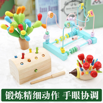 Childrens building blocks 1-2-3-6 years old baby early to teach puzzle wooden boys and girls fine action training toys