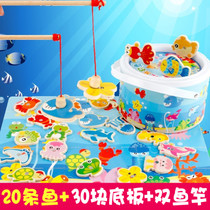 Childrens magnetic fishing toys wooden parent-child Game children puzzle male and female baby early childhood education toys 123 years old