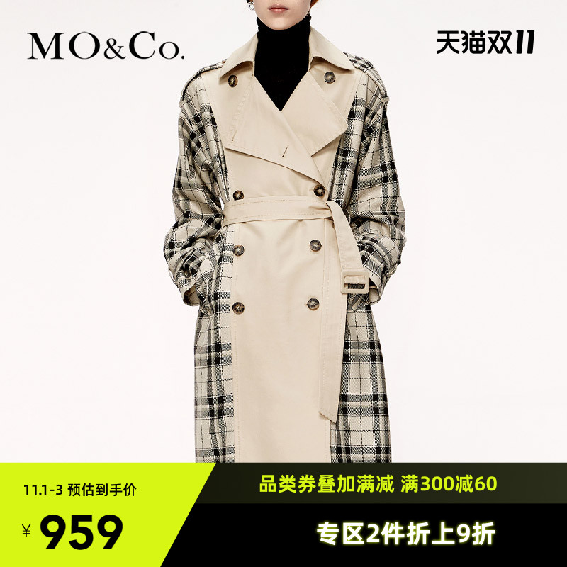 MOCO autumn new product turn collar to collect waist stitched plaid windcoat jacket MAI3TRC001 moan