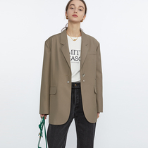 Fanluo blazer women spring and autumn 2021 new high-end fried street design sense niche brown curry small suit jacket