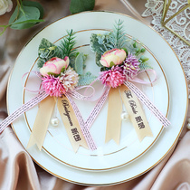 Wedding corsage a pair of bride and groom Korean wedding Donghua luxury corsage wedding pin wedding supplies