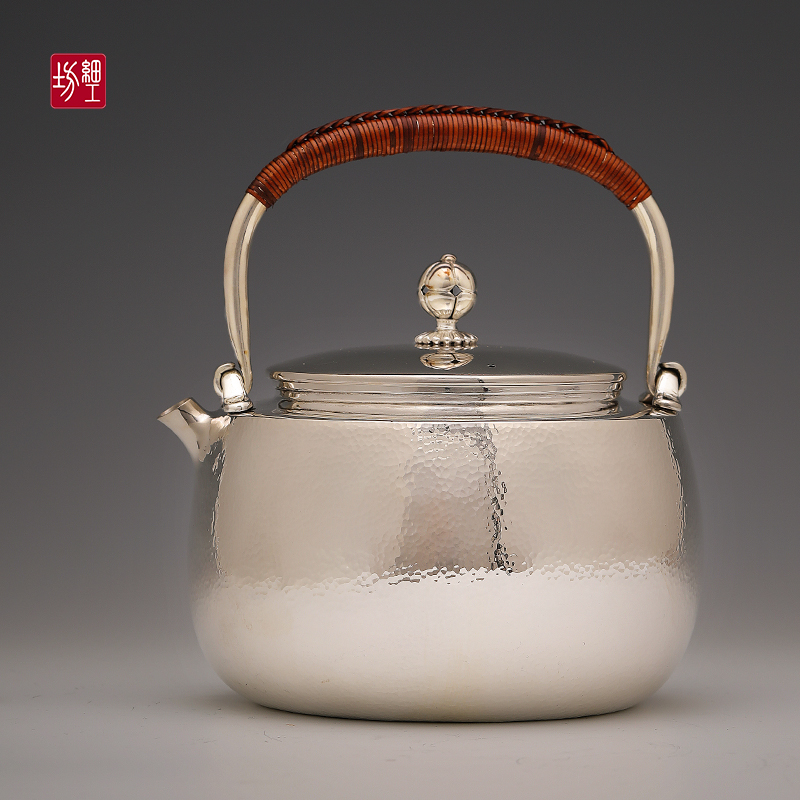 Fine workshop silver pot pure silver 999 kettle tea ceremony home brewing teapot Japan imported pure handmade silver pot