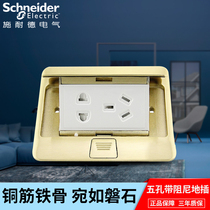 Schneider to plug the ground socket five-hole power outlet full copper bounce damping floor socket 120 type