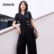 INSUN/ENSHAI MARKET COMMUNICATION SIMPLE V-NECK, SHANGHAI SHORT-SLEEVED CONNECTED WIDE-LEGS WOMEN'S TROUGHTS