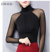 New Elastic mesh national standard modern dance dress bottom shirt sexy slimming long sleeve latin dance ballroom blouse Girl