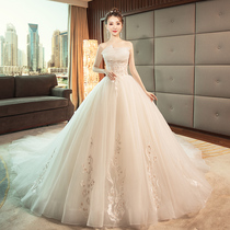 The palace shows thin Princess sexy dew back dream long tail wedding dress