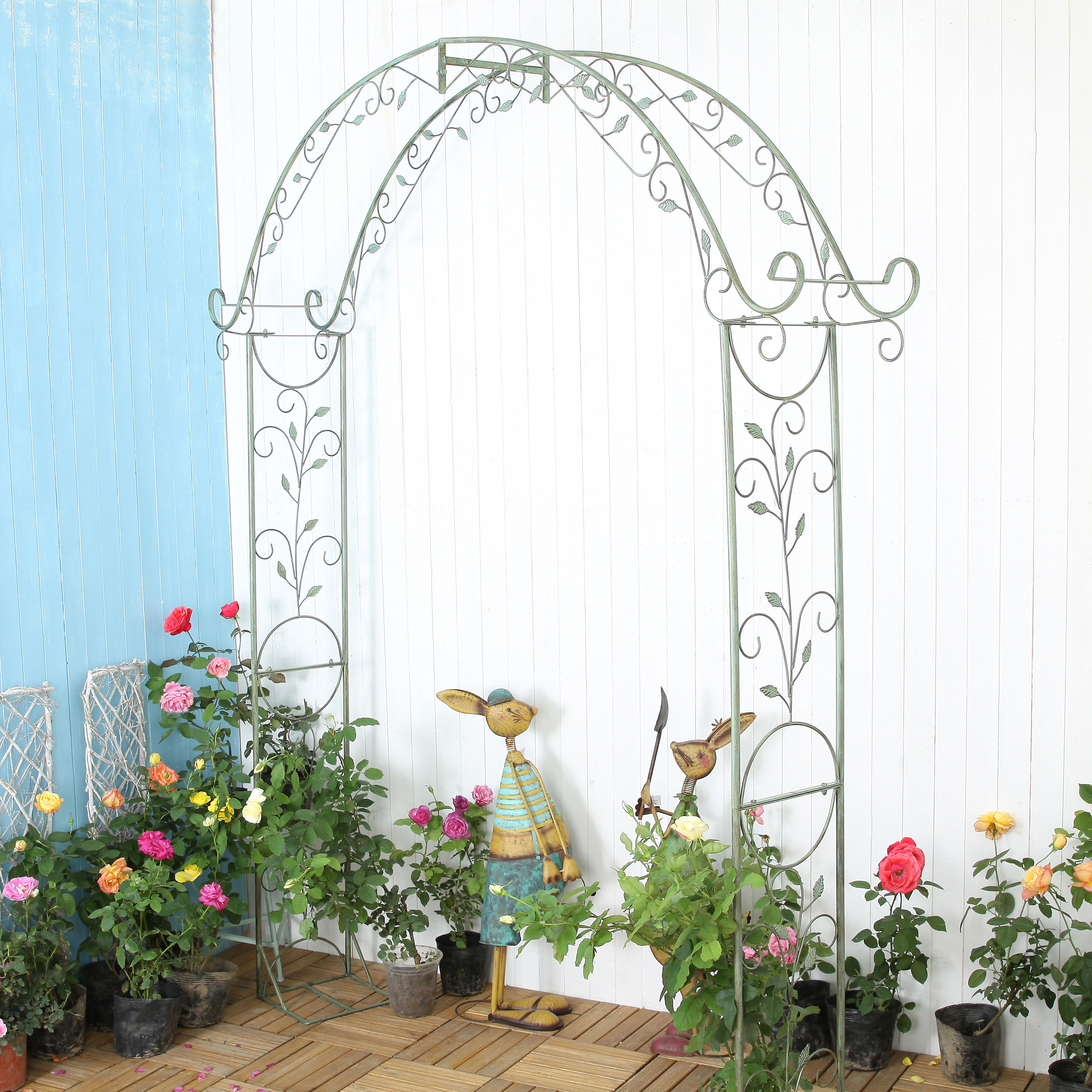 Ancient iron art large span flowers monthly arch flower rack dew garden garden villa property plant climbing rattan frame